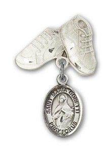 Pin Badge with St. Maria Goretti Charm and Baby Boots Pin [BLBP1343]