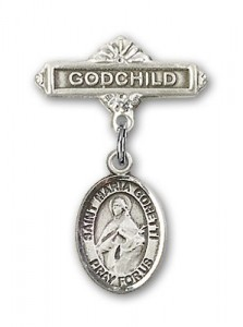 Pin Badge with St. Maria Goretti Charm and Godchild Badge Pin [BLBP1342]