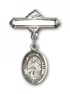 Pin Badge with St. Maria Goretti Charm and Polished Engravable Badge Pin [BLBP1337]