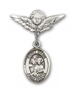 Pin Badge with St. Mark the Evangelist Charm and Angel with Smaller Wings Badge Pin [BLBP0753]