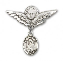 Pin Badge with St. Martha Charm and Angel with Larger Wings Badge Pin [BLBP0787]
