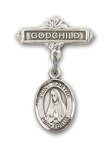 Pin Badge with St. Martha Charm and Godchild Badge Pin [BLBP0789]