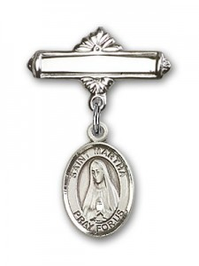 Pin Badge with St. Martha Charm and Polished Engravable Badge Pin [BLBP0784]