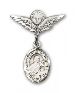 Pin Badge with St. Martin de Porres Charm and Angel with Smaller Wings Badge Pin [BLBP0886]