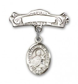 Pin Badge with St. Martin de Porres Charm and Arched Polished Engravable Badge Pin [BLBP0884]