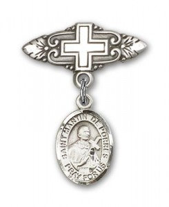 Pin Badge with St. Martin de Porres Charm and Badge Pin with Cross [BLBP0883]
