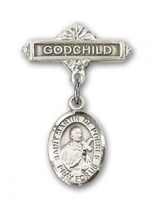 Pin Badge with St. Martin de Porres Charm and Godchild Badge Pin [BLBP0887]