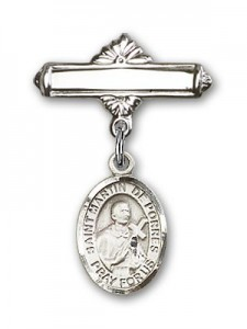 Pin Badge with St. Martin de Porres Charm and Polished Engravable Badge Pin [BLBP0882]