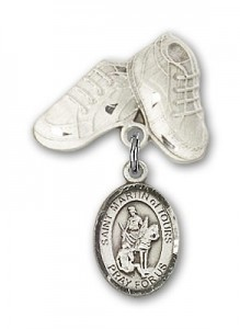 Pin Badge with St. Martin of Tours Charm and Baby Boots Pin [BLBP1287]