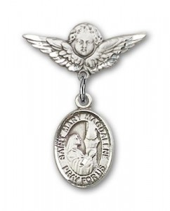 Pin Badge with St. Mary Magdalene Charm and Angel with Smaller Wings Badge Pin [BLBP0760]