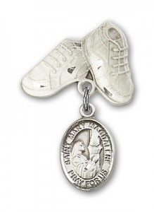 Pin Badge with St. Mary Magdalene Charm and Baby Boots Pin [BLBP0762]