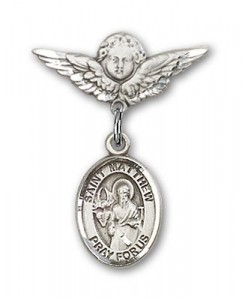Pin Badge with St. Matthew the Apostle Charm and Angel with Smaller Wings Badge Pin [BLBP0781]