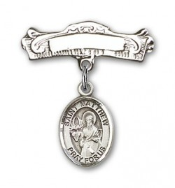 Pin Badge with St. Matthew the Apostle Charm and Arched Polished Engravable Badge Pin [BLBP0779]