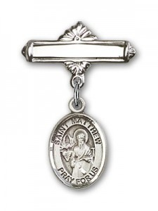 Pin Badge with St. Matthew the Apostle Charm and Polished Engravable Badge Pin [BLBP0777]