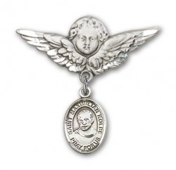 Pin Badge with St. Maximilian Kolbe Charm and Angel with Larger Wings Badge Pin [BLBP0773]