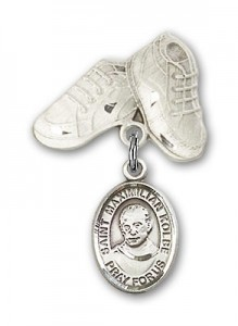 Pin Badge with St. Maximilian Kolbe Charm and Baby Boots Pin [BLBP0776]