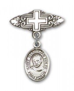 Pin Badge with St. Maximilian Kolbe Charm and Badge Pin with Cross [BLBP0771]