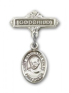 Pin Badge with St. Maximilian Kolbe Charm and Godchild Badge Pin [BLBP0775]