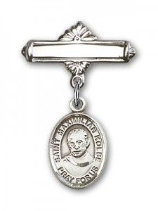Pin Badge with St. Maximilian Kolbe Charm and Polished Engravable Badge Pin [BLBP0770]