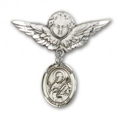 Pin Badge with St. Meinrad of Einsideln Charm and Angel with Larger Wings Badge Pin [BLBP2017]
