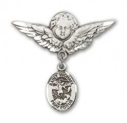Pin Badge with St. Michael the Archangel Charm and Angel with Larger Wings Badge Pin [BLBP0794]