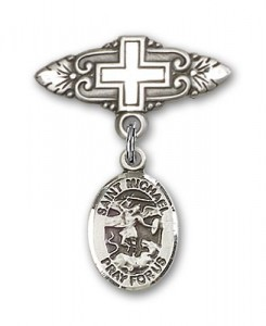 Pin Badge with St. Michael the Archangel Charm and Badge Pin with Cross [BLBP0792]