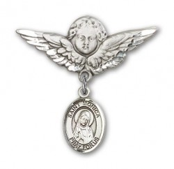 Pin Badge with St. Monica Charm and Angel with Larger Wings Badge Pin [BLBP0815]