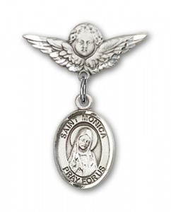 Pin Badge with St. Monica Charm and Angel with Smaller Wings Badge Pin [BLBP0816]