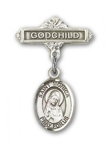 Pin Badge with St. Monica Charm and Godchild Badge Pin [BLBP0817]