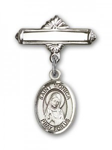 Pin Badge with St. Monica Charm and Polished Engravable Badge Pin [BLBP0812]