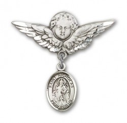 Pin Badge with St. Nicholas Charm and Angel with Larger Wings Badge Pin [BLBP0822]
