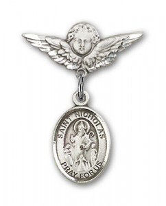 Pin Badge with St. Nicholas Charm and Angel with Smaller Wings Badge Pin [BLBP0823]