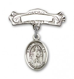 Pin Badge with St. Nicholas Charm and Arched Polished Engravable Badge Pin [BLBP0821]