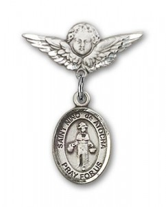 Pin Badge with St. Nino de Atocha Charm and Angel with Smaller Wings Badge Pin [BLBP1383]