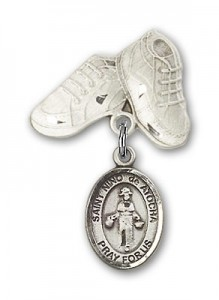 Pin Badge with St. Nino de Atocha Charm and Baby Boots Pin [BLBP1385]