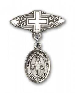 Pin Badge with St. Nino de Atocha Charm and Badge Pin with Cross [BLBP1380]