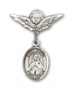 Pin Badge with St. Olivia Charm and Angel with Smaller Wings Badge Pin [BLBP2053]