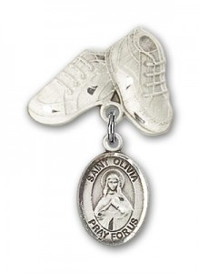 Pin Badge with St. Olivia Charm and Baby Boots Pin [BLBP2055]