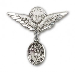 Pin Badge with St. Paul of the Cross Charm and Angel with Larger Wings Badge Pin [BLBP2094]