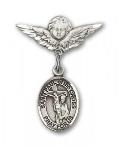 Pin Badge with St. Paul of the Cross Charm and Angel with Smaller Wings Badge Pin [BLBP2095]