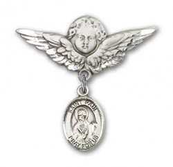 Pin Badge with St. Paul the Apostle Charm and Angel with Larger Wings Badge Pin [BLBP0864]