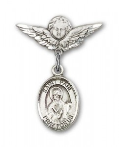 Pin Badge with St. Paul the Apostle Charm and Angel with Smaller Wings Badge Pin [BLBP0865]
