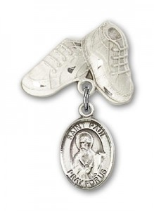 Pin Badge with St. Paul the Apostle Charm and Baby Boots Pin [BLBP0867]
