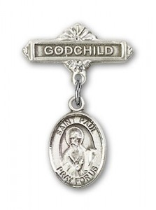 Pin Badge with St. Paul the Apostle Charm and Godchild Badge Pin [BLBP0866]