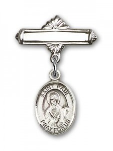 Pin Badge with St. Paul the Apostle Charm and Polished Engravable Badge Pin [BLBP0861]