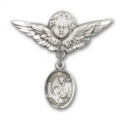 Pin Badge with St. Paula Charm and Angel with Larger Wings Badge Pin [BLBP2297]