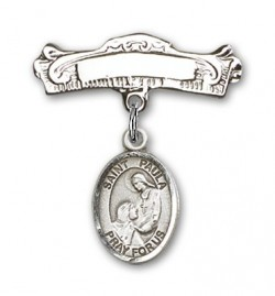 Pin Badge with St. Paula Charm and Arched Polished Engravable Badge Pin [BLBP2296]