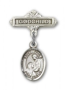 Pin Badge with St. Paula Charm and Godchild Badge Pin [BLBP2299]