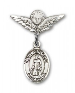 Pin Badge with St. Peregrine Laziosi Charm and Angel with Smaller Wings Badge Pin [BLBP0879]