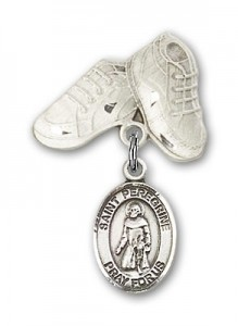 Pin Badge with St. Peregrine Laziosi Charm and Baby Boots Pin [BLBP0881]